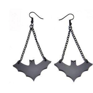 Black Bat French Hook Earrings Halloween